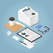 Isometric Paper Work Concept Illustration