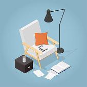 Isometric Reading Place Illustration