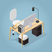 Isometric Office Workplace Illustration