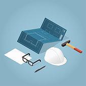 Isometric House Construction Illustration