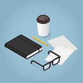 Isometric Journaling Concept Illustration