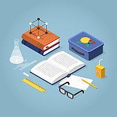 School Homework Isometric Illustration