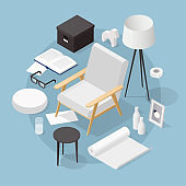 Isometric Home Decoration Illustration