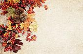 Autumn fall wreath on textured bacground