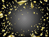 Falling Golden Confetti on transparent background