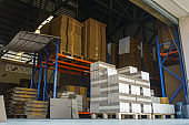 Corrugated cardboard box stacked in warehouse