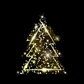 A geometric Christmas tree. Golden Glitter.
