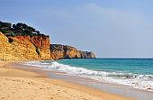 Empty beach of Lagos, Portugal on low season, Algarve