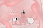 Beauty product, pink cosmetic containers with advertising background ready to use, luxury skin care ad. illustration vector