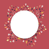 Autumn background. Hand drawn elements frame with autumnal colors on dark red background. Fruits, seeds, flowers, leaves, mushrooms, branch, acorns around a circle. Vector illustration, flat design