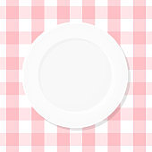 White empty plate on pink checkered tablecloth. Top view. Vector illustration, flat design