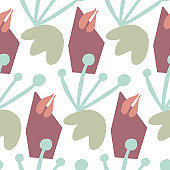 Seamless pattern in autumnal colors on white background. Abstract shapes and flowers. Vector illustration, flat design