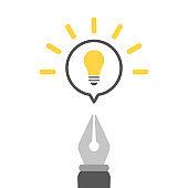 Fountain pen with speech bubble and light bulb icon. Concept of creativity, art, design, idea. Vector illustration, flat design