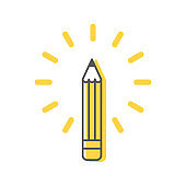 Pencil icon with abstract rays on white background. Concept of creativity, art, solution, idea. Vector illustration, flat design