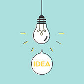 Light bulb idea. Vector illustration, flat design