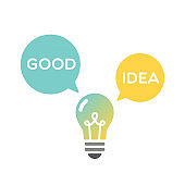 Light bulb good idea. Vector illustration, flat design
