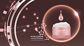 Beauty product ad design, pink cosmetic container with collagen solution advertising background ready to use, luxury skin care banner, illustration vector.