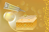 Beauty product ad design, gold cosmetic container with collagen solution advertising background ready to use, luxury skin care banner, illustration vector.