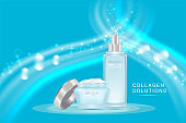 Beauty product ad design, blue cosmetic containers with collagen solution advertising background ready to use, luxury skin care banner, illustration vector.