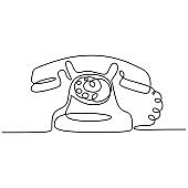 Vintage telephone old style with Continuous one line drawing. Minimalism retro design.