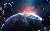 Awesome picure of Earth, moon, asteroids and bright sparks of glowing stars. Deep space image, science fiction fantasy in high resolution ideal for wallpaper and print. Elements of this image furnished by NASA
