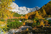 sunny autumn day in alpine mountains