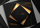 Black and gold abstract template background