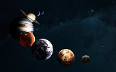 Planets of the Solar system against Milky Way. Science fiction art. Elements of this image furnished by NASA