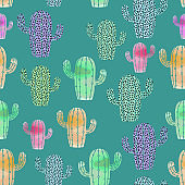 Trendy cactus watercolor drawing seamless pattern with colorful watercolors. Vector illustration for fashion wrapping and textile print.