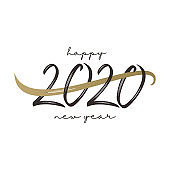 Vintage happy new 2020 year. Hand drawn typography lettering creative. Vector minimalist isolated on white background.