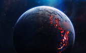 Lava planet. Deep space image, science fiction fantasy in high resolution ideal for wallpaper and print. Elements of this image furnished by NASA