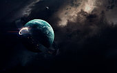 Simulation of sun. Science fiction space wallpaper, incredibly beautiful planets, galaxies, dark and cold beauty of endless universe. Elements of this image furnished by NASA