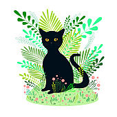 Beautiful black cat sits on a background of flowers, grass, plants, isolated white background. Fantasy vector poster with animals, cartoon style. Creative cat card.
