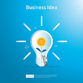 business idea with light bulb and dollar coin growing plant element object. Financial innovation solution concept or investment vision opportunity with flat design. vector illustration.