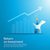 Return on investment ROI concept. business growth arrows to success. dollar money bag on big investor hand. chart increase profit. Finance stretching rising up. banner flat style vector illustration