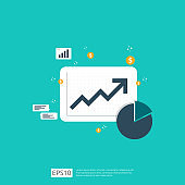 increase arrow statistic graph for business profit or salary income growth. Finance performance chart of return on investment ROI concept. flat style vector illustration.