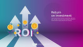 Return on investment, profit opportunity concept. business growth arrows to success. ROI text with success arrow graph chart increase and grow dollar coins plant. business banner vector illustration.