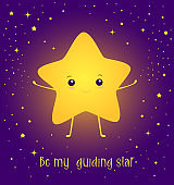 "Happy, kawaii, bright star with a smiling sweetheart face, with the text - ""Be my guiding star"",cute greeting card. Pattern isolated dark purple background. Vector cartoon illustration magic star."