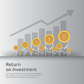 Return on investment ROI concept. business growth arrows to success increase profit. Finance stretching rising up. market strategic management, financial planning flat style vector illustration.