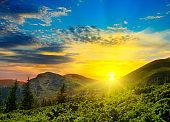 Beautiful mountains landscape and sunrise.