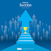 business concept with stair and trophy cup. arrow direction to success winner. Finance growth vision, victory achievement award and personal career development banner flat style vector illustration.