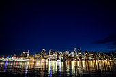 Downtown Vancouver cityscape panoramic view at night