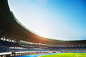 Spotlights and floodlights at a stadium