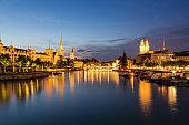 Zurich downtown skyline at lake zurich at night, Switzerland