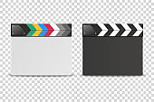 Vector 3d Realistic Closed White and Black Blank Movie Film Clap Board Icon Set Closeup Isolated on Transparent Background. Design Template of Clapperboard, Slapstick, Filmmaking Device. Front View