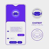 Chatbot mobile app concept. Trendy flat design vector illustration