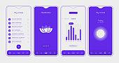 Trendy responsive Meditation and Mood UI mockup