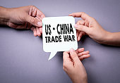 US - China trade war concept. Speech bubble
