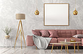 Modern interior of living room with pink sofa 3d rendering