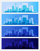 City Skyline Colored Sets, City Districts Banners